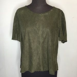 Olive Green Faux Suede Top